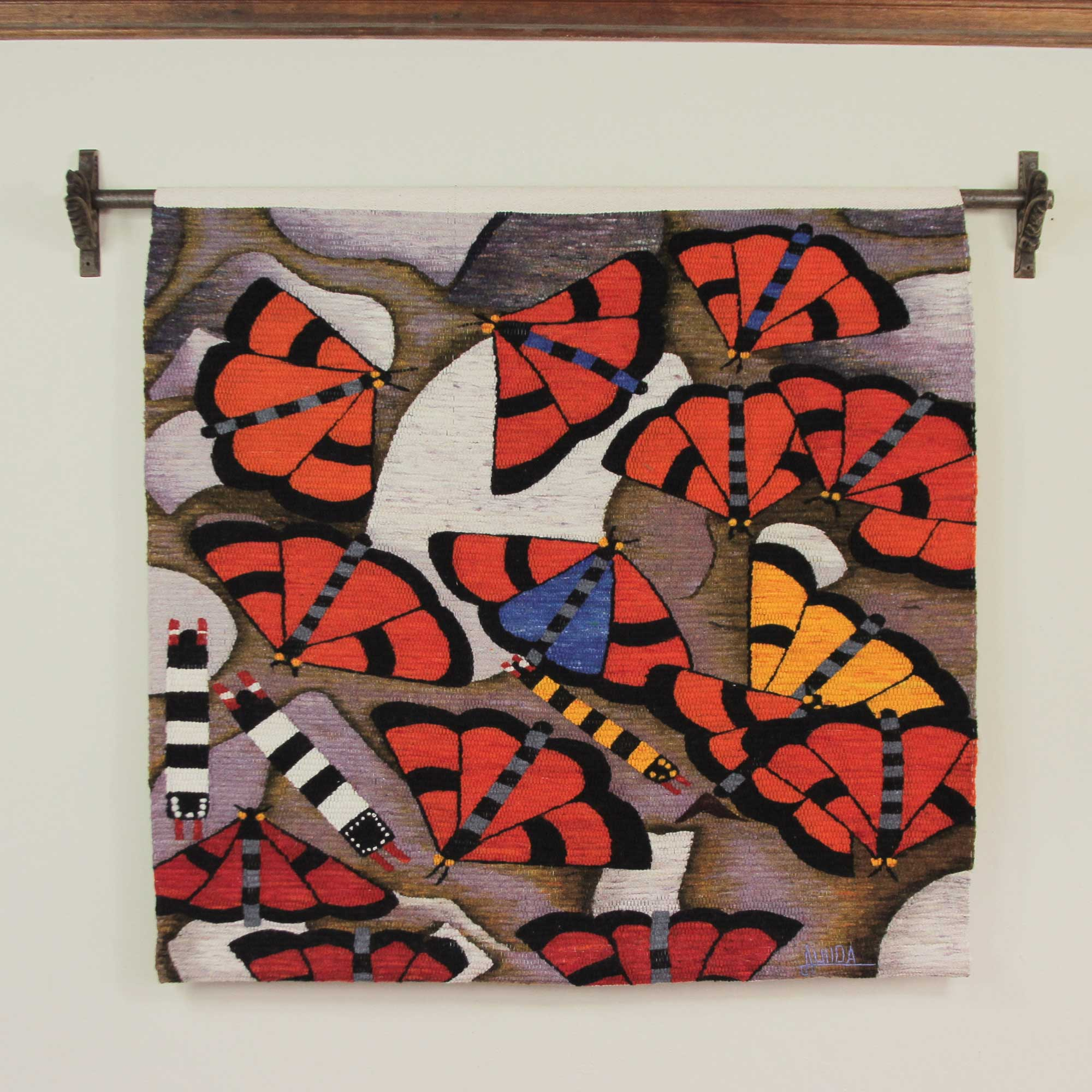 Hand Loomed Wool Butterfly Tapestry Wall Hanging Butterflies Of Manu Novica