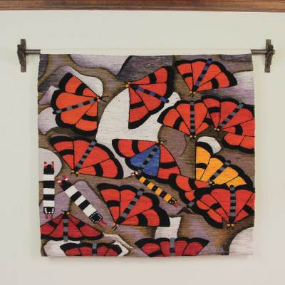 Wool tapestry, 'Butterflies of Manu' - Hand Loomed Wool Butterfly Tapestry Wall Hanging