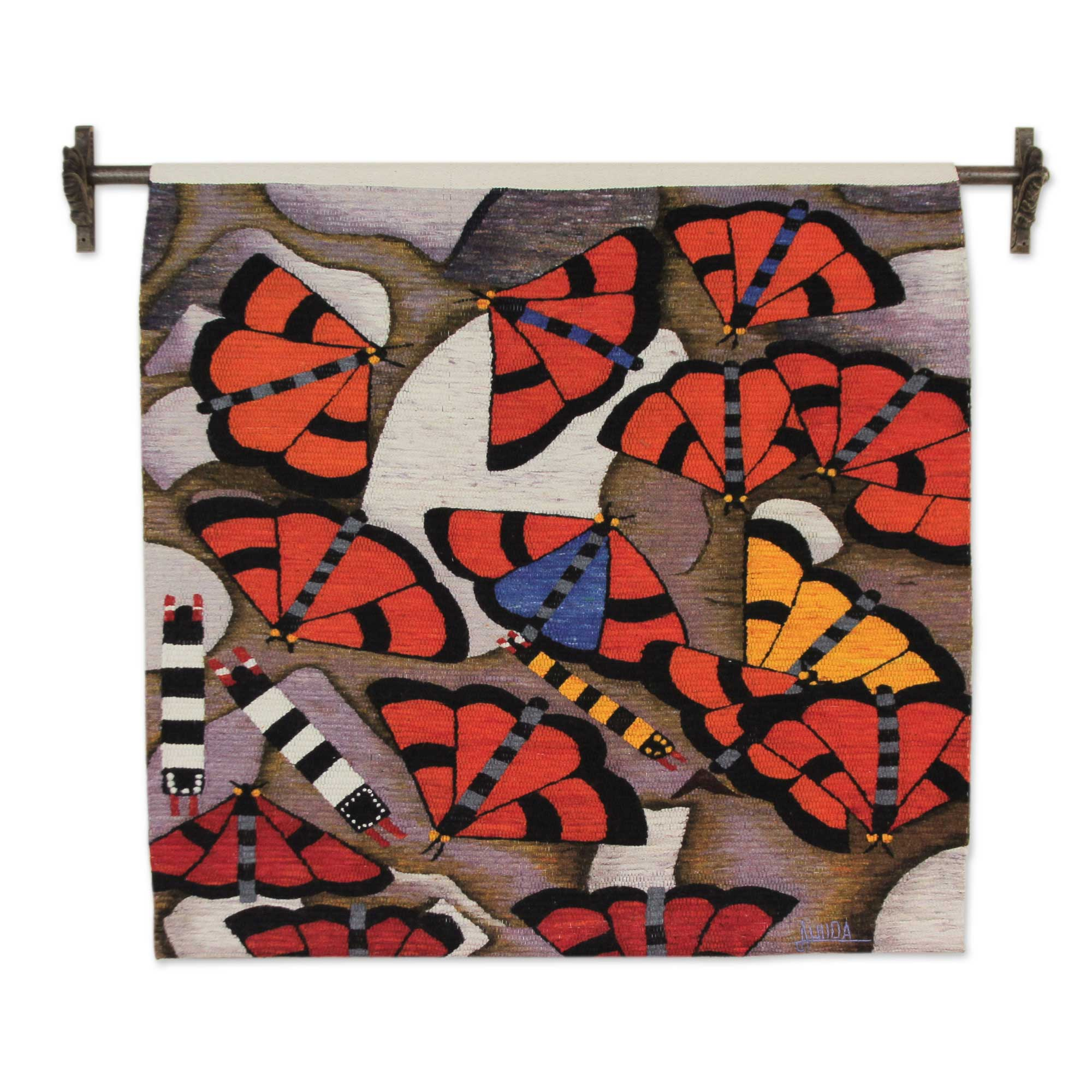 Unicef Uk Market Hand Loomed Wool Butterfly Tapestry