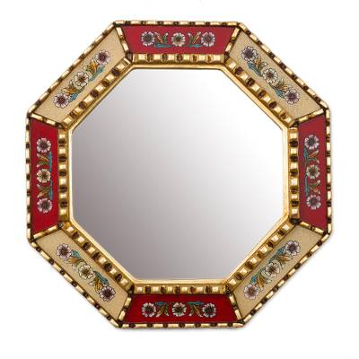 Mohena wood mirror, 'Summer Scarlet' - Unique Reverse Painted Glass Wood Mirror