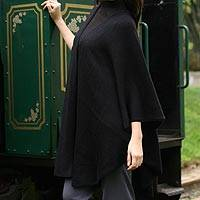 Alpaca blend wrap, 'Bold Black' - Alpaca Wool Blend Ruana Wrap from the Andes