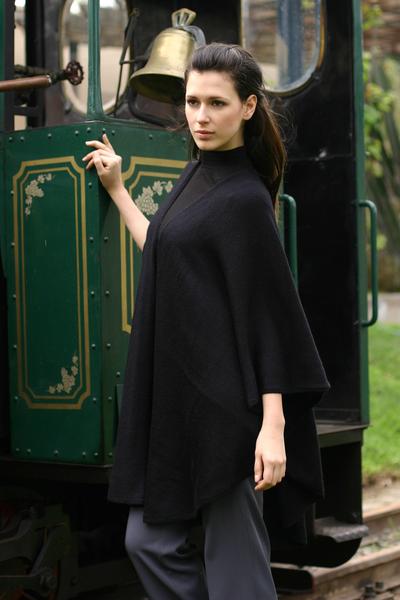 Alpaca blend wrap, 'Bold Black' - Alpaca Wool Solid Black Wrap Ruana