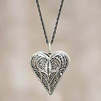 Silver locket necklace, 'Filigree Heart'