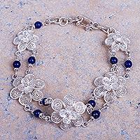 Lapis lazuli flower bracelet, 'Garlands' - Sterling Silver Filigree Lapis Lazuli Bracelet