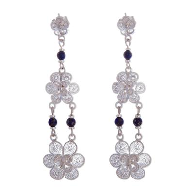 Lapis lazuli chandelier earrings, 'Garlands' - Fair Trade Floral Silver Dangle Lapis Lazuli Earrings