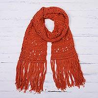 100% alpaca scarf, 'Carrot' - Hand Made Alpaca Wool Crochet Scarf from Peru