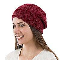 100% alpaca hat, 'Candy Apple' - Artisan Crafted Alpaca Wool Hat