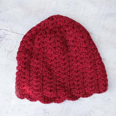 100% alpaca hat, 'Candy Apple' - Artisan Crafted Alpaca Wool Hat