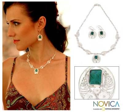 Chrysocolla jewelry set, 'Leaves' - Chrysocolla Silver Necklace And Earrings Jewelry Set