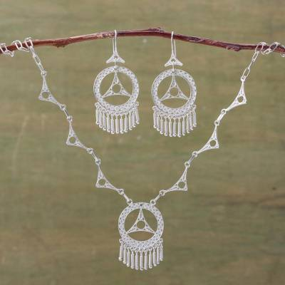 Silver jewelry set, 'Peace' - Filigree Earrings and Necklace Jewelry Set