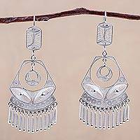 Silver filigree earrings, 'Spanish Lace'