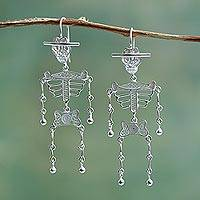 Silver filigree earrings, 'Dancing Skeleton'