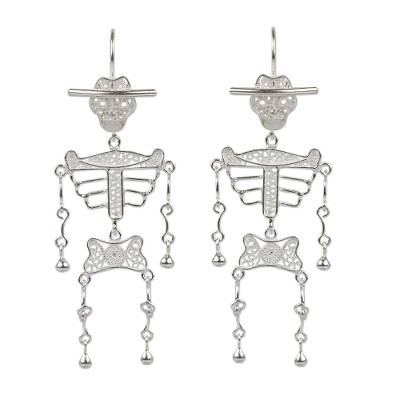 Silver filigree earrings, 'Dancing Skeleton' - Day of the Dead Sterling Silver Filigree Earrings from Peru