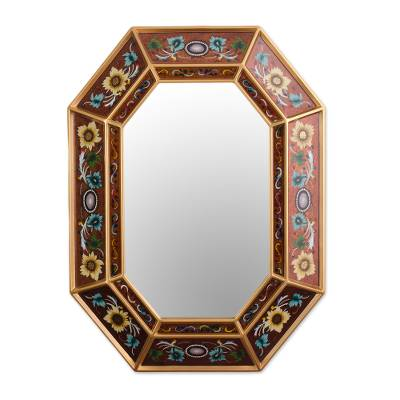 Mirror, 'Colonial Medallions' - Unique Reverse Painted Glass Wood Mirror