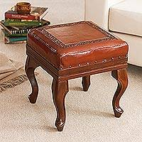 Leather and cedar ottoman, 'Century'
