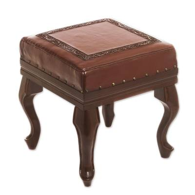 Leather and cedar ottoman, 'Century' - Traditional Wood Leather Ottoman