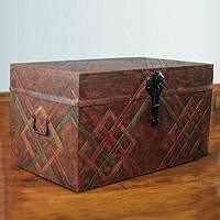 Tooled leather chest, 'Interwoven' - Handcrafted Tooled Leather Chest