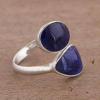 Sodalite ring, 'Raindrops' - Sodalite ring