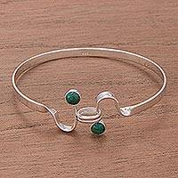 Chrysocolla bangle bracelet, 'Opposites Attract'