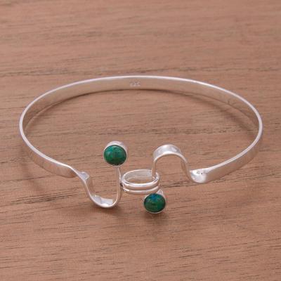 Chrysocolla bangle bracelet, 'Opposites Attract' - Chrysocolla bangle bracelet