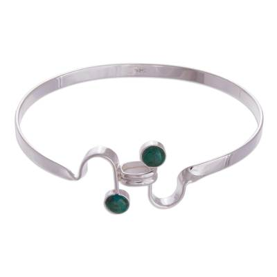 Chrysocolla bangle bracelet, 'Law of Attraction' - Chrysocolla bangle bracelet