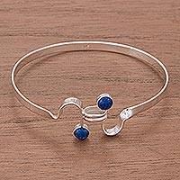 Lapis lazuli bangle bracelet, 'Opposites Attract' - Lapis Lazuli Bezel Setting Sterling Silver Bangle Bracelet
