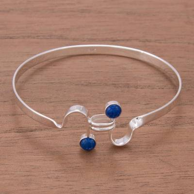 Lapis lazuli bangle bracelet, 'Law of Attraction' - Fair Trade Lapis Lazuli and Silver Bangle Bracelet