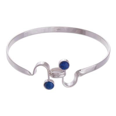 Lapis lazuli bangle bracelet, 'Opposites Attract' - Fair Trade Lapis Lazuli and Silver Bangle Bracelet