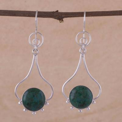 Chrysocolla dangle earrings, 'Andean Moon' - Chrysocolla and Silver Dangle Earrings