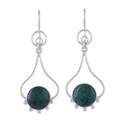 Chrysocolla and Silver Dangle Earrings