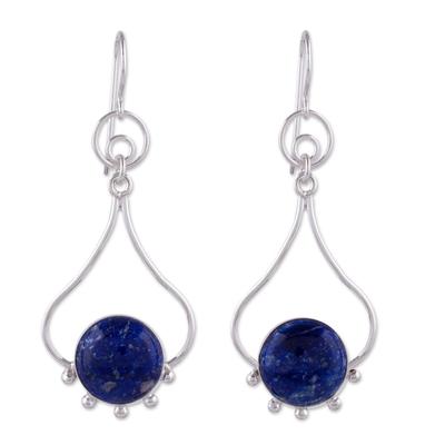 Lapis lazuli dangle earrings, 'Andean Moon' - Lapis Lazuli and Silver Earrings