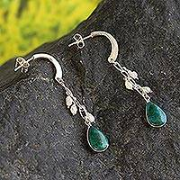 Pearl and chrysocolla dangle earrings, 'Sweet Perfection' - Chrysocolla and Pearl Earrings Sterling Silver 925