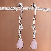 Pearl and pink opal dangle earrings, 'Sweet Perfection' - Pearl and pink opal dangle earrings
