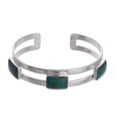 Handmade Chrysocolla and Sterling Silver Minimalist Cuff Bracelet