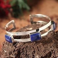 Lapis lazuli cuff bracelet, 'Three Wishes'