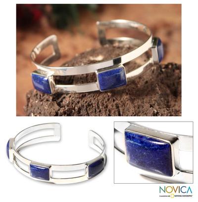 Lapis lazuli cuff bracelet, 'Three Wishes' - Lapis lazuli cuff bracelet