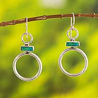 Chrysocolla dangle earrings, 'Join Me' - Handcrafted Modern Chrysocolla and Silver Earrings