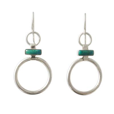 Handcrafted Modern Chrysocolla and Silver Earrings