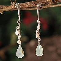 Pearl and opal dangle earrings, 'Sweet Perfection' - Sterling Silver and Opal Dangle Earrings