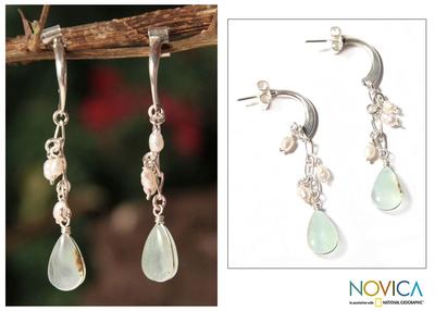 Pearl and opal dangle earrings, 'Sweet Perfection' - Sterling Silver and Opal Dangle Earrings