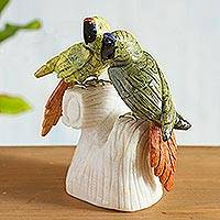 Serpentine and onyx sculpture, 'Parrot Love' - Carved Gemstone Bird Sculpture