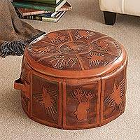 Tooled leather ottoman cover, 'Nazca Legacy' - Andes Artisan Leather Free Trade Ottoman Pouf Cover