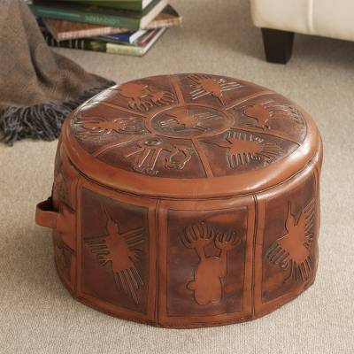 Brilliant Artisan Crafted Leather Brown Ottoman Pouf Cover Nazca Legacy Unemploymentrelief Wooden Chair Designs For Living Room Unemploymentrelieforg