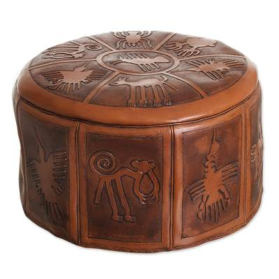 Tooled leather ottoman cover, 'Nazca Legacy' - Artisan Crafted Leather Brown Ottoman Pouf Cover