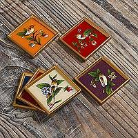 Glass coasters, 'Birds of Peace' (Set of 6) - Set of Six Multicolored Glass Coasters