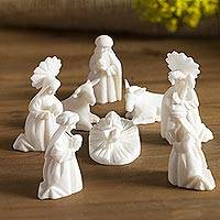 Huamanga stone nativity scene, 'White Christmas' (set of 8) - Huamanga Stone Nativity Scene (Set of 8)