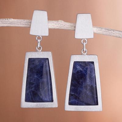 Sodalite dangle earrings, 'Gate to the Sky' - Sodalite dangle earrings