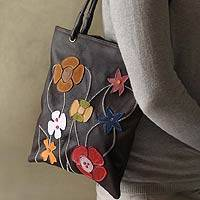 Leather handbag, 'Wildflowers' - Unique Floral Applique Leather Shoulder Bag