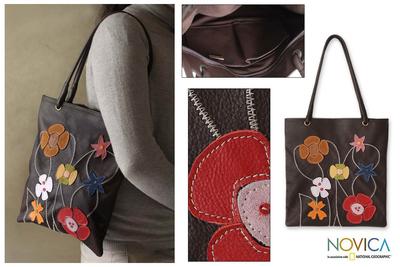 Handbag zipper pouch blue cotton purse with leather appliqué