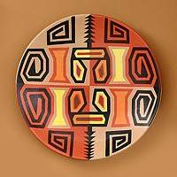 Ceramic plate, 'Inca Weavings' - Hand Made Decorative Ceramic Plate